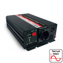 Инвертор автомобильный 12/220V AVS IN-PS600W Чистая синусоида